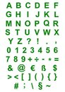 Green alphabet, numbers and characters Stock Photography