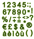 Green alphabet - Numbers and Symbols Stock Photo