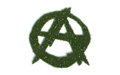 Green anarchy sign series symbols out of realistic grass one the best known signs all over the world but is that the way Stock Photo