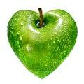 Green apple as a heart