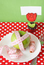 Green apple for breakfast clothespin with card Stock Image