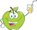 Green apple cartoon character holding a glass with drink smiling Stock Photography