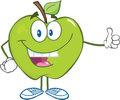 Green apple cartoon character holding a thumb up smiling Royalty Free Stock Photo