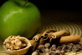 Green apple cinnamon and walnut Stock Photos