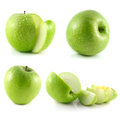 Green apple collection on white background set Royalty Free Stock Images