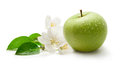 Green apple and flower Royalty Free Stock Photo