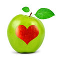 Green apple with heart