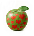 Green apple isolated with hearts Royalty Free Stock Images