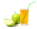 Green apple with juice isolated on white Royalty Free Stock Photo