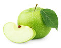 Green apple with leaf and slice isolated on white Royalty Free Stock Photo