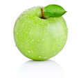Green apple with leaf in water drops isolated on white Royalty Free Stock Photo