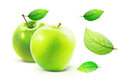 Green Apple and leafe isolated with clipping path Royalty Free Stock Photo