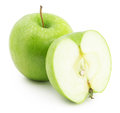 Green apple with slice isolated on the white background Royalty Free Stock Photo