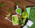 Green apple spa top view Royalty Free Stock Photo
