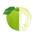 Green apple splash photo of with leaf slice and isolated on white Stock Photos