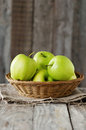 Green apple sweet on the wooden table selective focus Stock Photo