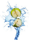 Green apple in water Stock Image