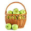 Green apples in basket Stock Photography