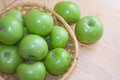 Green apples in a basket on a light background shot close up Royalty Free Stock Images