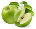 Green apples with flower isolated on white Royalty Free Stock Photo