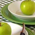 Green apples granny smith on bowls ready to slice and eat Royalty Free Stock Photography