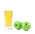 Green apples and juice close up white background Stock Image