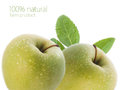 Green apples juicy with water drops selective focus Royalty Free Stock Photos