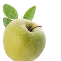 Green apples juicy with water drops selective focus Stock Photo
