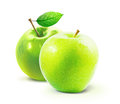 Green apples and leafe isolated with clipping path Royalty Free Stock Photo