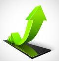 Green arrow business graphs Stock Photography