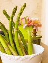 Green asparagus in a pot bunch of fresh Royalty Free Stock Image