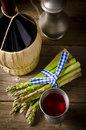 Green asparagus and wine Stock Images