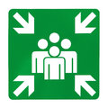 Green assembly point sign on white background Royalty Free Stock Photos