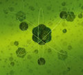 Green atom concept peaceful model conception on lattice of other atoms Royalty Free Stock Image