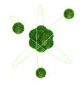 Green atom concept peaceful model conception on white background Stock Photos