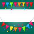 Green Background with Colorful Party Flags Royalty Free Stock Photo