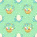Green background with easter basket cartoon seamless vector Royalty Free Stock Photo