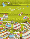 Green background easter eggs vector illustration Stock Photos