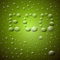 Green Background. ECO Title Made from Water Drops On Glass. Royalty Free Stock Image