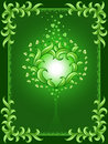 Green background with floral frame and heart Royalty Free Stock Photos