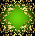 Green background frame with gold ornamentation illustration Royalty Free Stock Images