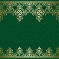 Green vector background with golden vintage orname