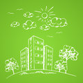 Green background with house vector hand drawn and trees Stock Photos