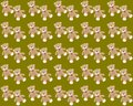 Green background with sitting teddy bears