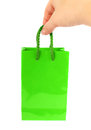 Green bag with hand Royalty Free Stock Photo