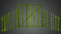 Green bamboo screen curtain with clipping path Royalty Free Stock Image