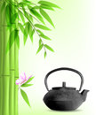 Green bamboo and tea vector background with Royalty Free Stock Image