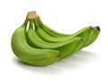 Green banana bundle on a white background Royalty Free Stock Images