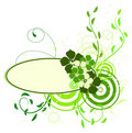 Green banner with flowers Stock Photos
