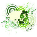 Green banner with flowers Royalty Free Stock Image
